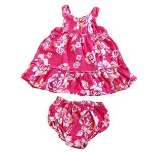 Chaps 6 month pink white floral print dress